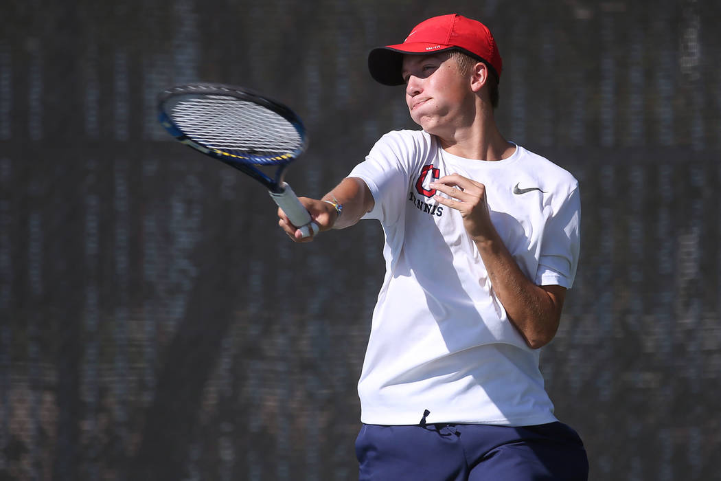 Coronado doubles player Jack Hambrook hits ball during a boys state tennis semifinals match against Palo Verde at Darling Tennis Center in Las Vegas, Thursday, Oct. 19, 2017. Bridget Bennett Las V ...