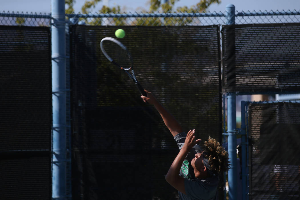 Palo Verde doubles player Hayden Huckfeldt serves the ball during boys state tennis semifinals match against Coronado at Darling Tennis Center in Las Vegas, Thursday, Oct. 19, 2017. Bridget Bennet ...