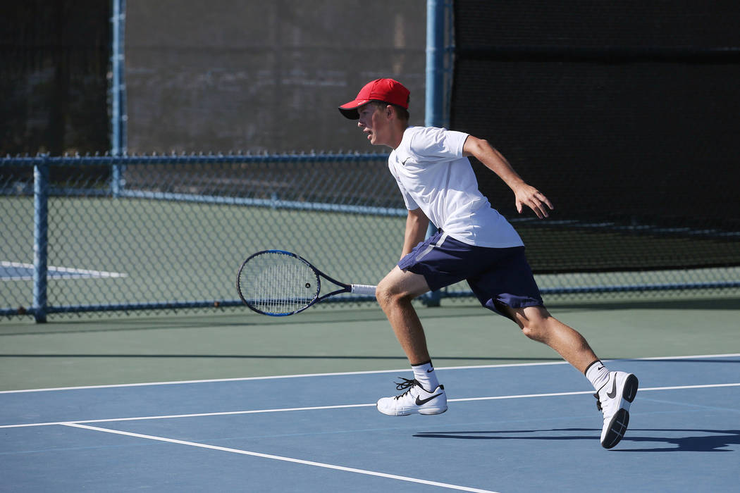 Coronado doubles player Jack Hambrook hits the ball during a boys state tennis semifinals match against Palo Verde at Darling Tennis Center in Las Vegas, Thursday, Oct. 19, 2017. Bridget Bennett L ...
