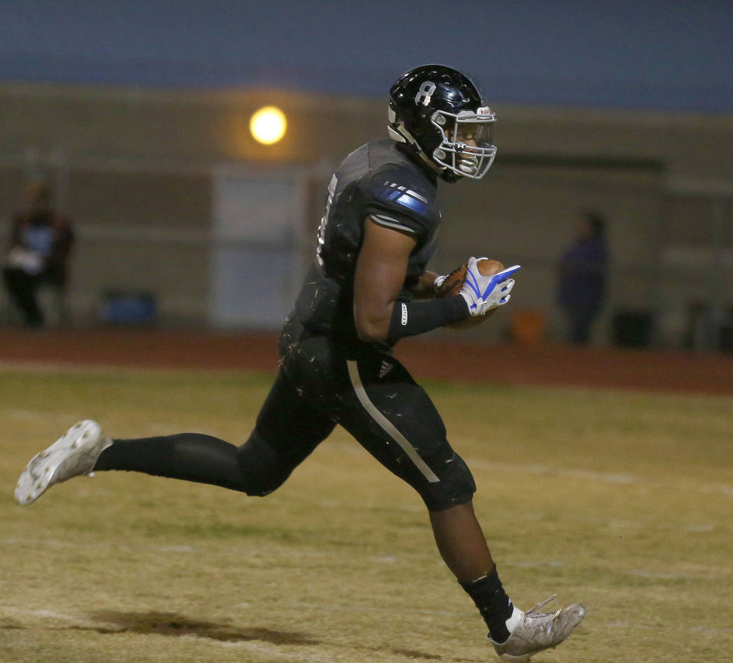 Desert Pines' linebacker Dejon Pratt, 8, scores a touchdown after Sunrise Mountain's fumble at Desert Pines High School in Las Vegas, Friday, Oct. 20, 2017. Elizabeth Brumley Las Vegas Review-Jour ...