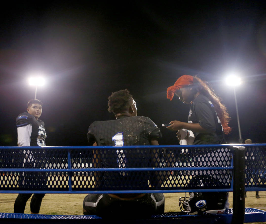 Desert Pines' quarterback Tyler Williamson, 1, rests during a game against Sunrise Mountain at Desert Pines High School in Las Vegas, Friday, Oct. 20, 2017. Elizabeth Brumley Las Vegas Review-Jour ...