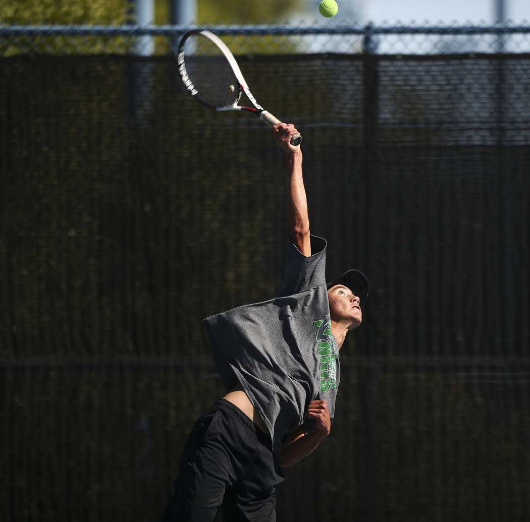 Palo Verde's Axel Boticelli Clark's Artem Iermolov compete in the Class 4A state final at Darling Tennis Center in Las Vegas on Saturday, Oct. 21, 2017. Botticelli claimed the championship. Chase  ...