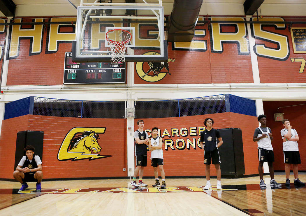 Players on the Clark High School basketball team line up for drills during basketball practice at Clark High School in Las Vegas, Monday Oct. 23, 2017. Elizabeth Brumley Las Vegas Review-Journal @ ...