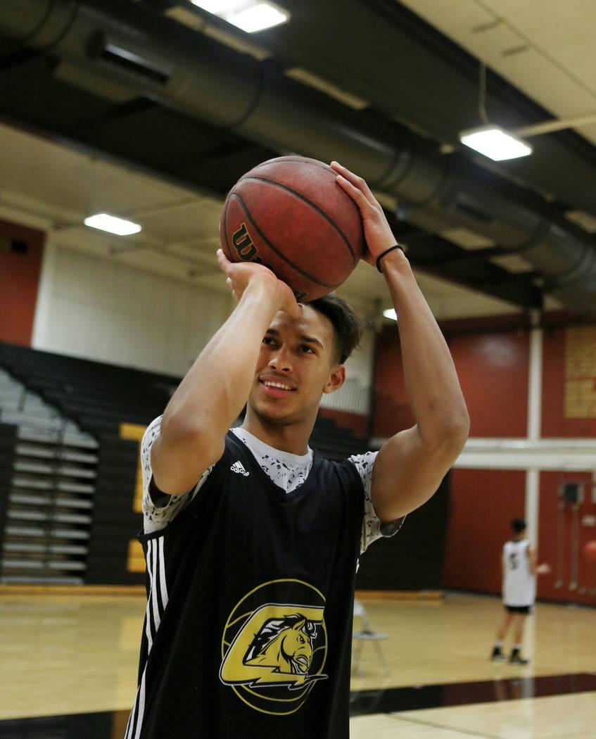 Clark High School senior Greg Foster shoots during basketball practice at Clark High School in Las Vegas, Monday Oct. 23, 2017. Elizabeth Brumley Las Vegas Review-Journal @EliPagePhoto