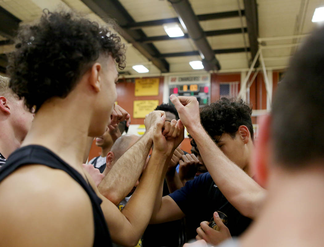 Players on the Clark High School basketball team break for basketball practice at Clark High School in Las Vegas, Monday Oct. 23, 2017. Elizabeth Brumley Las Vegas Review-Journal @EliPagePhoto