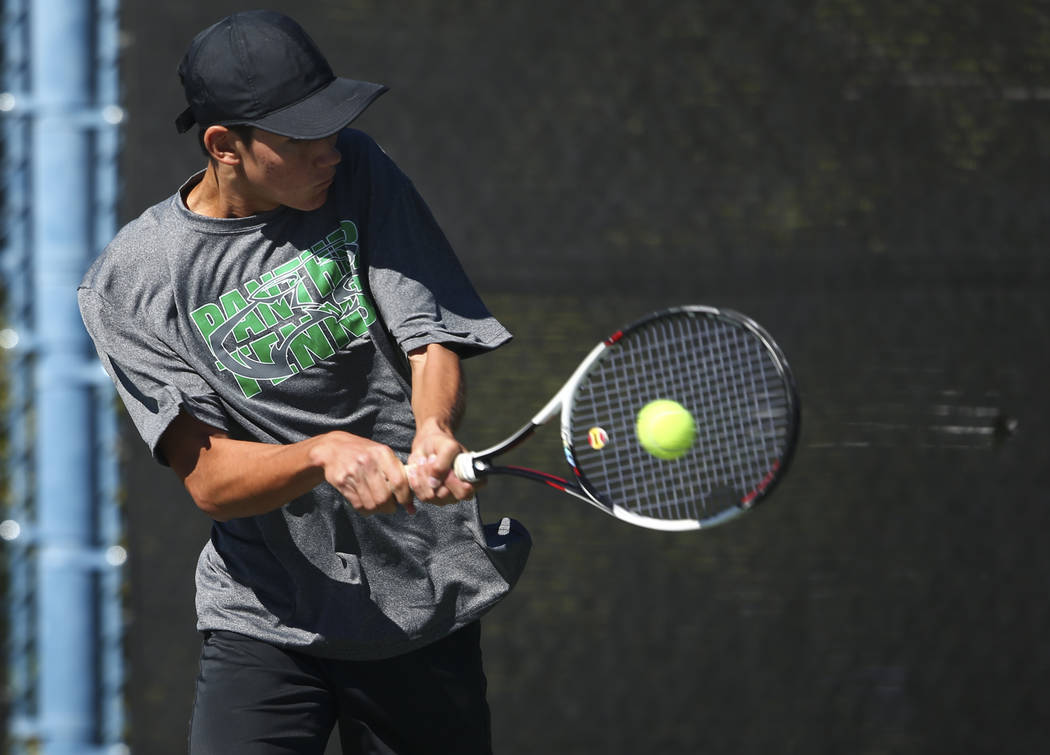 Palo Verde's Axel Boticelli competes in the Class 4A state final at Darling Tennis Center in Las Vegas on Saturday, Oct. 21, 2017. Botticelli claimed the championship. Chase Stevens Las Vegas Revi ...