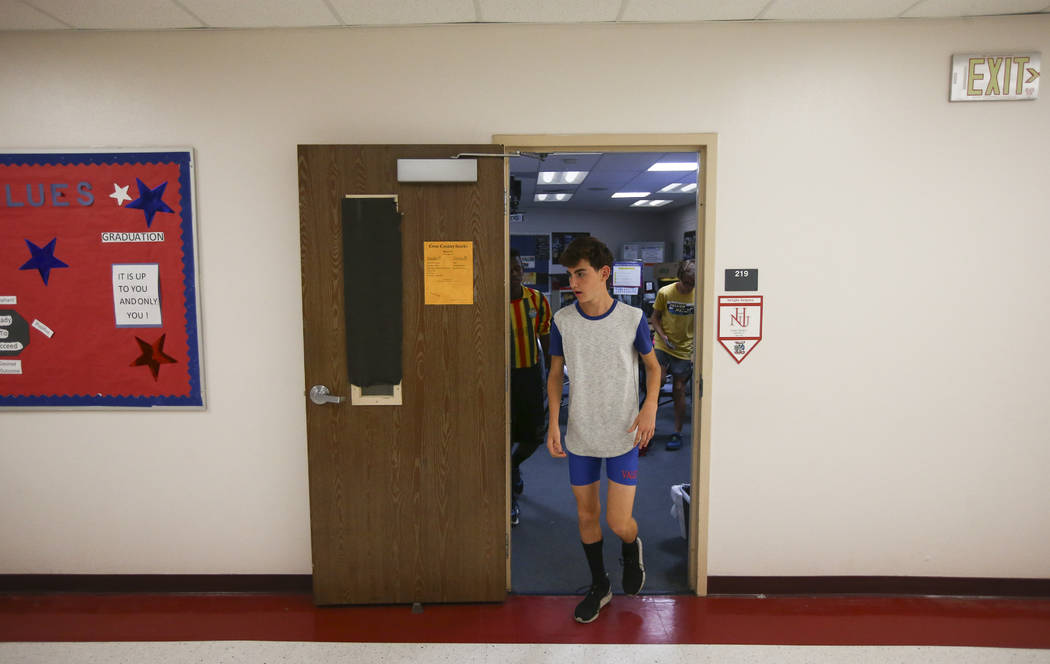 Valley's Donovan Jones prepares to warm up in the hallways as cross country practice begins at the high school in Las Vegas on Wednesday, Oct. 25, 2017. Chase Stevens Las Vegas Review-Journal @css ...