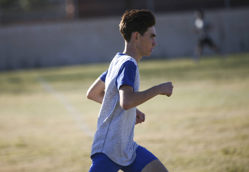 Valley's Donovan Jones during cross country practice at the high school in Las Vegas on Wednesday, Oct. 25, 2017. Chase Stevens Las Vegas Review-Journal @csstevensphoto