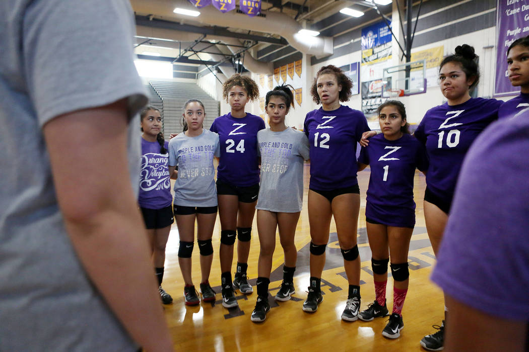 Durango varsity volleyball team huddles during practice at Durango High School in Las Vegas, Thursday, Oct 26, 2017. Elizabeth Brumley Las Vegas Review-Journal @EliPagePhoto