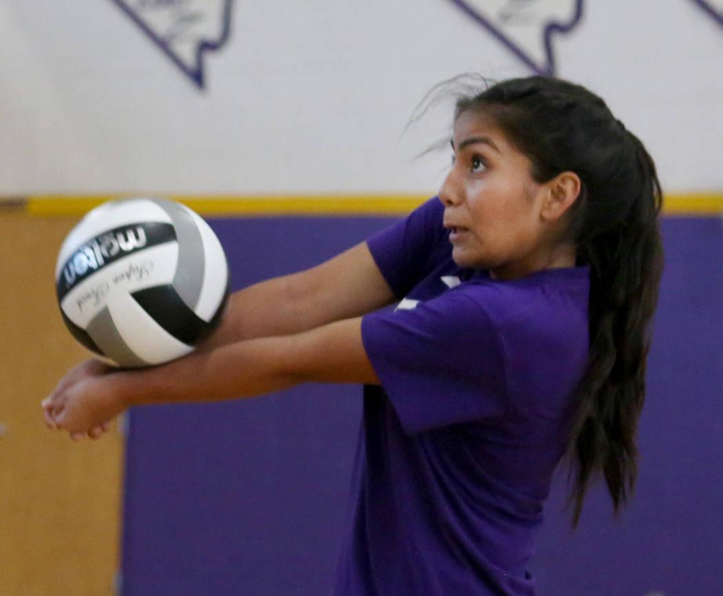 Durango High School freshman Sierra Leone Sanchez hits the ball during varsity practice Durango High School in Las Vegas, Thursday, Oct 26, 2017. Elizabeth Brumley Las Vegas Review-Journal @EliPag ...