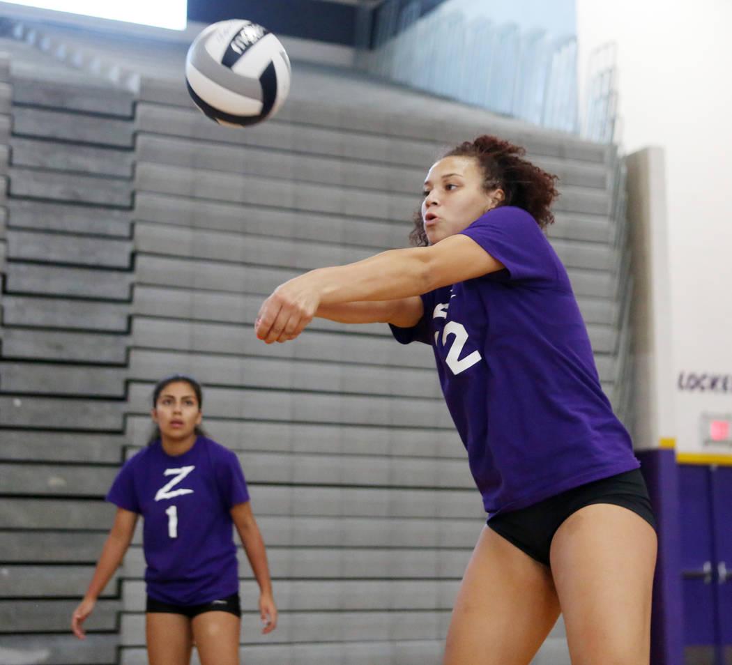 Durango High School senior Naomi Harris hits the ball during varsity practice at Durango High School in Las Vegas, Thursday, Oct 26, 2017. Elizabeth Brumley Las Vegas Review-Journal @EliPagePhotoN ...