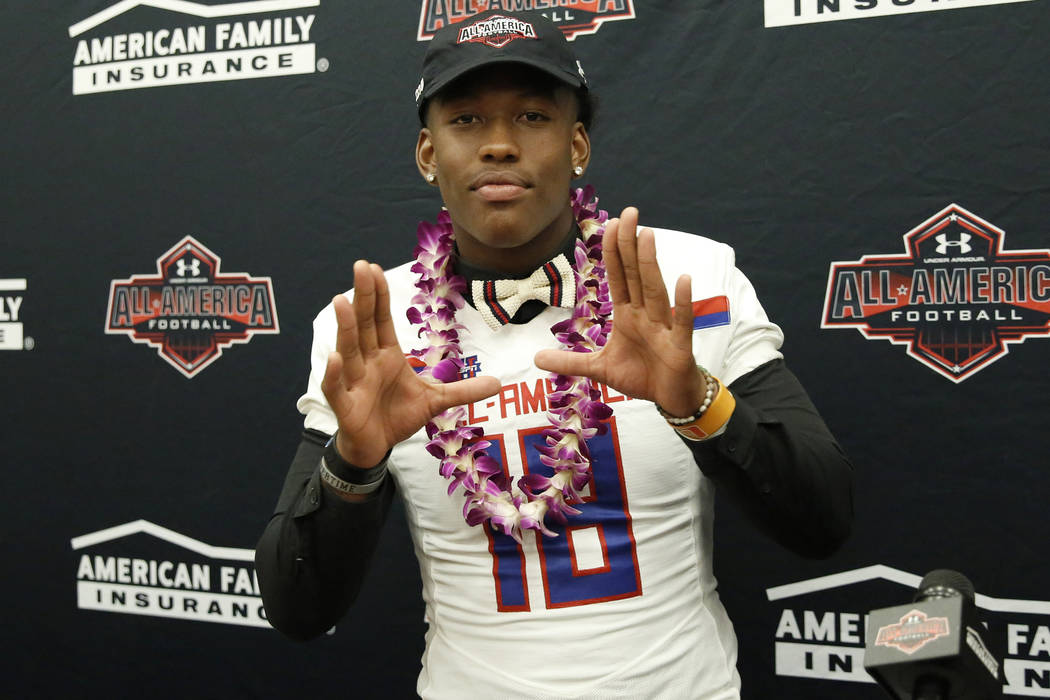 Bishop GormanÕs tight end Brevin Jordan, receives his honorary All America Game jersey at his school Wednesday, Oct. 25, 2017, in Las Vegas. Bizuayehu Tesfaye Las Vegas Review-Journal @bizute ...
