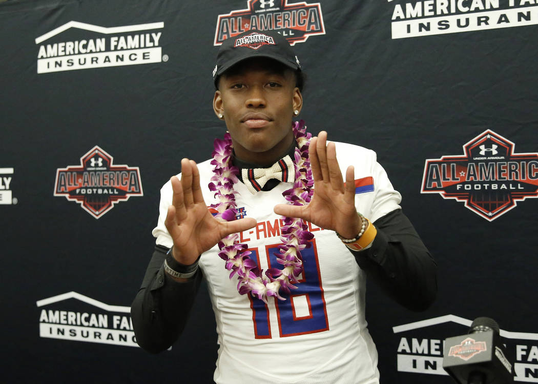 Bishop Gorman's tight end Brevin Jordan, receives his honorary All America Game jersey at his school Wednesday, Oct. 25, 2017, in Las Vegas. Bizuayehu Tesfaye Las Vegas Review-Journal @bizutesfaye