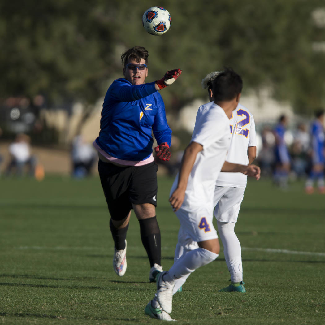 Durango's Nikolas Todorovich (1) throws the ball to a teammate in the playoff soccer game against Legacy at the Bettye Wilson Soccer Complex in Las Vegas, Thursday, Nov. 2, 2017. Durango won 5-1.  ...