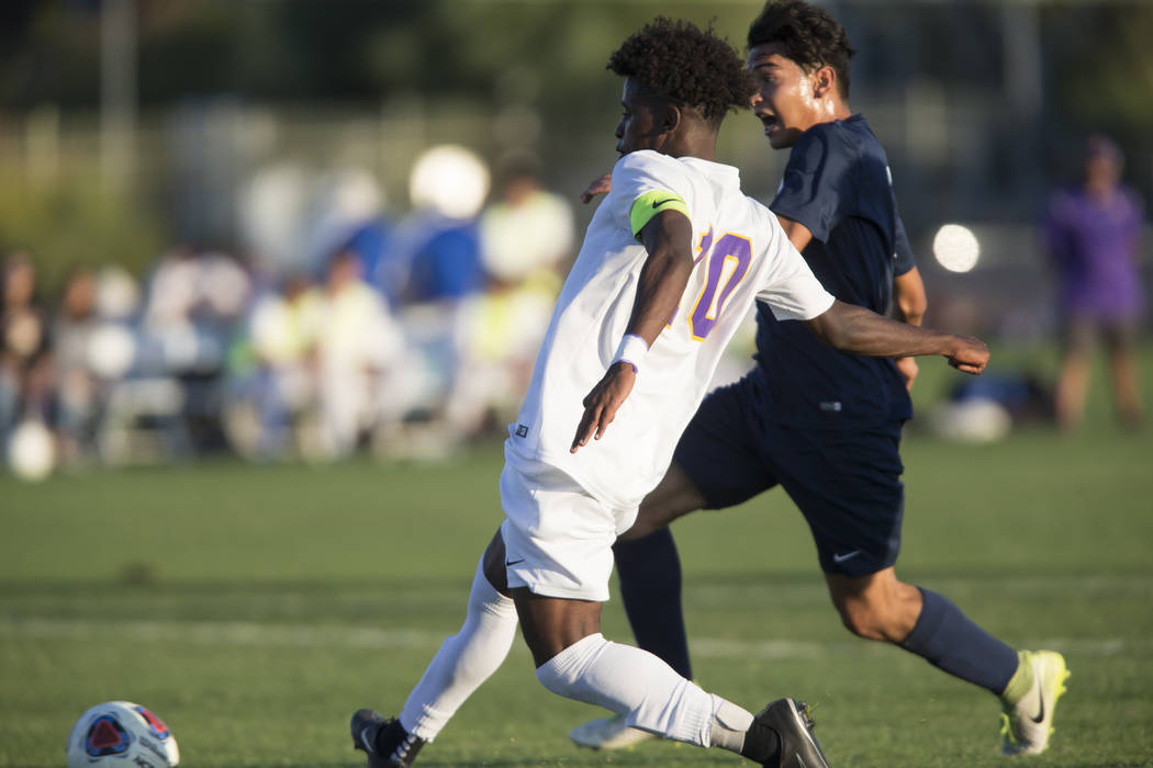 Durango's Mihreteab Tesfamariam (10) kicks the ball for a goal in the playoff soccer game against Legacy at the Bettye Wilson Soccer Complex in Las Vegas, Thursday, Nov. 2, 2017. Durango won 5-1.  ...
