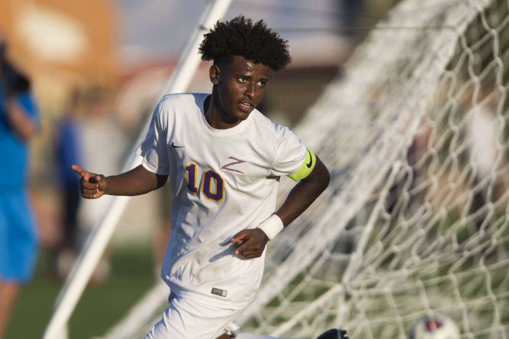 Durango's Mihreteab Tesfamariam (10) celebrates a goal in the playoff soccer game against Legacy at the Bettye Wilson Soccer Complex in Las Vegas, Thursday, Nov. 2, 2017. Durango won 5-1. Erik Ver ...