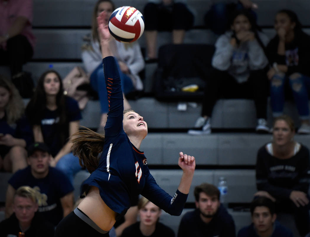 Bishop Gorman's Kylie Gibson hits the ball against Shadow Ridge during a class 4A Sunset Region final volleyball game at Durango High School Friday, Nov. 3, 2017, in Las Vegas. Bishop Gorman won 3 ...