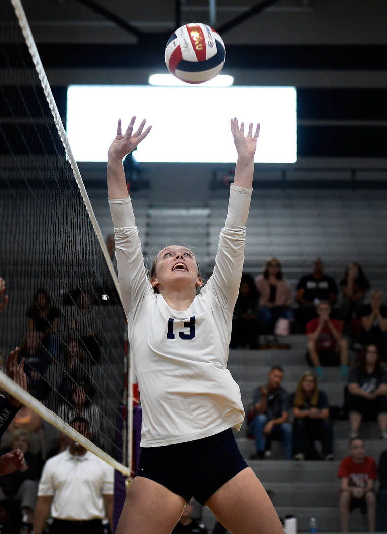Shadow Ridge's Autumn Spendlove sets the ball against Bishop Gorman during a class 4A Sunset Region final volleyball game at Durango High School Friday, Nov. 3, 2017, in Las Vegas. Bishop Gorman w ...