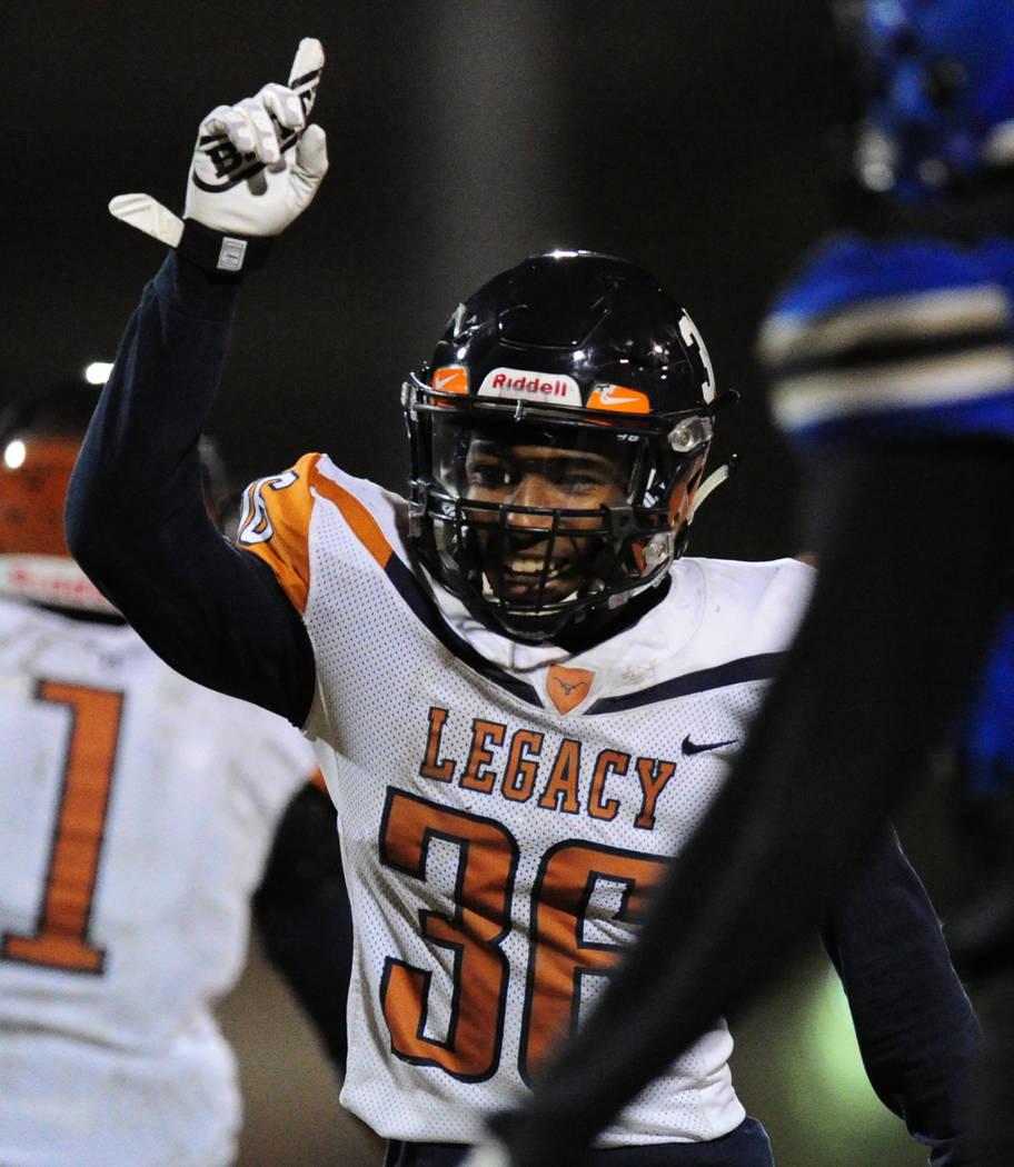 Legacy running back Amorey Foster celebrates a touchdown against Sierra Vista in the first half of their prep football game at Sierra Vista School in Las Vegas Friday November 3, 2017. Josh Holmbe ...