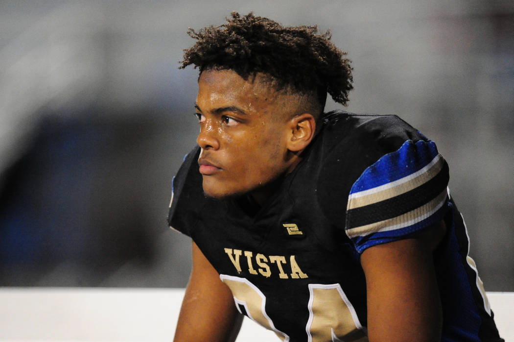 Sierra Vista running back/defensive back Kevin McCray takes a quick breather in the second half of their prep football game against Legacy at Sierra Vista School in Las Vegas Friday November 3, 20 ...