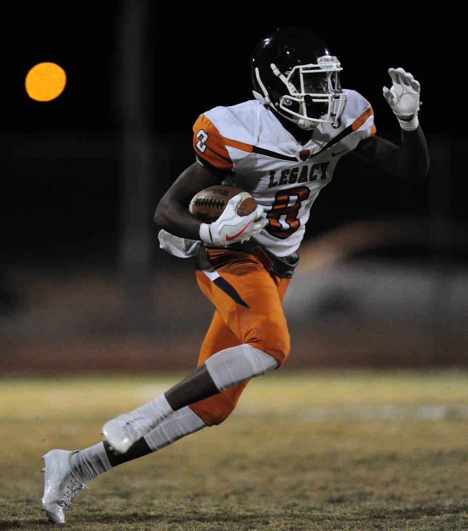 Legacy running back Jeffrey Allen rushes for a touchdown against Sierra Vista in the second half of their prep football game at Sierra Vista School in Las Vegas Friday November 3, 2017. Josh Holmb ...