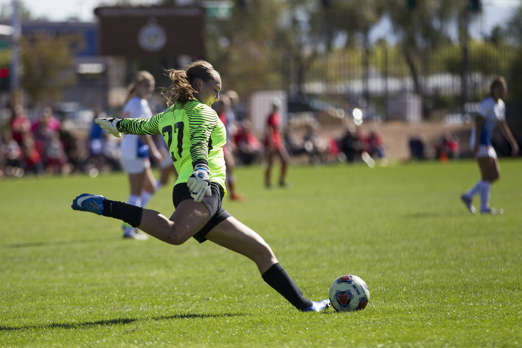 Bishop Gorman's Hannah Lee (27) during a goal kick against against Arbor View in the Sunset Region girl's soccer championship game at the Bettye Wilson Soccer Complex in Las Vegas, Saturday, Nov.  ...