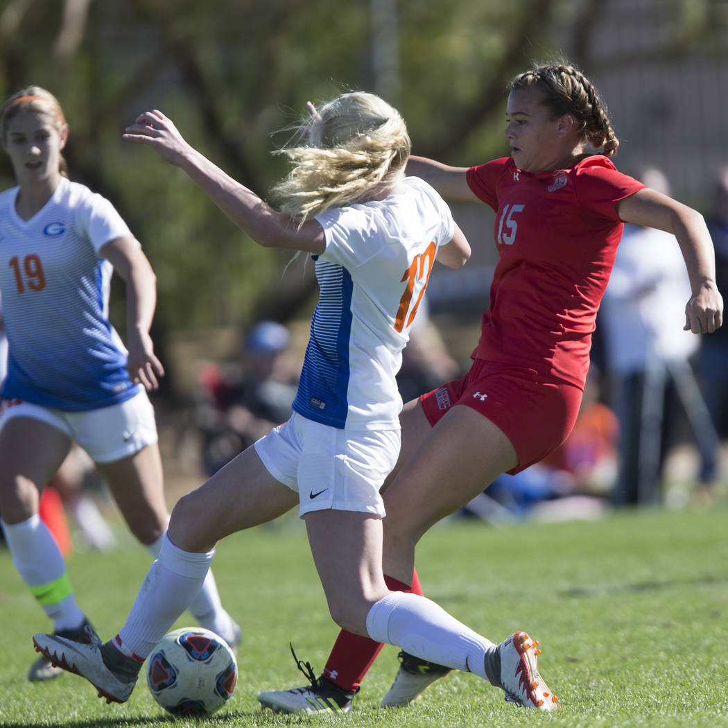 Arbor View's Jolianna Meyers (15) kicks the ball for a goal against Bishop Gorman in the Sunset Region girl's soccer championship game at the Bettye Wilson Soccer Complex in Las Vegas, Saturday, N ...