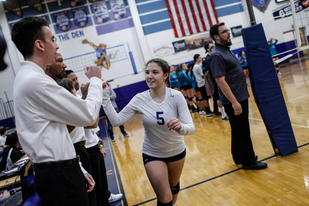 Shadow Ridge's Braedyn Peters (5) is introduced at the start of a volleyball game against Silverado High School at Sierra Vista High School in Las Vegas, Monday, Nov. 6, 2017. Shadow Ridge won 3-0 ...