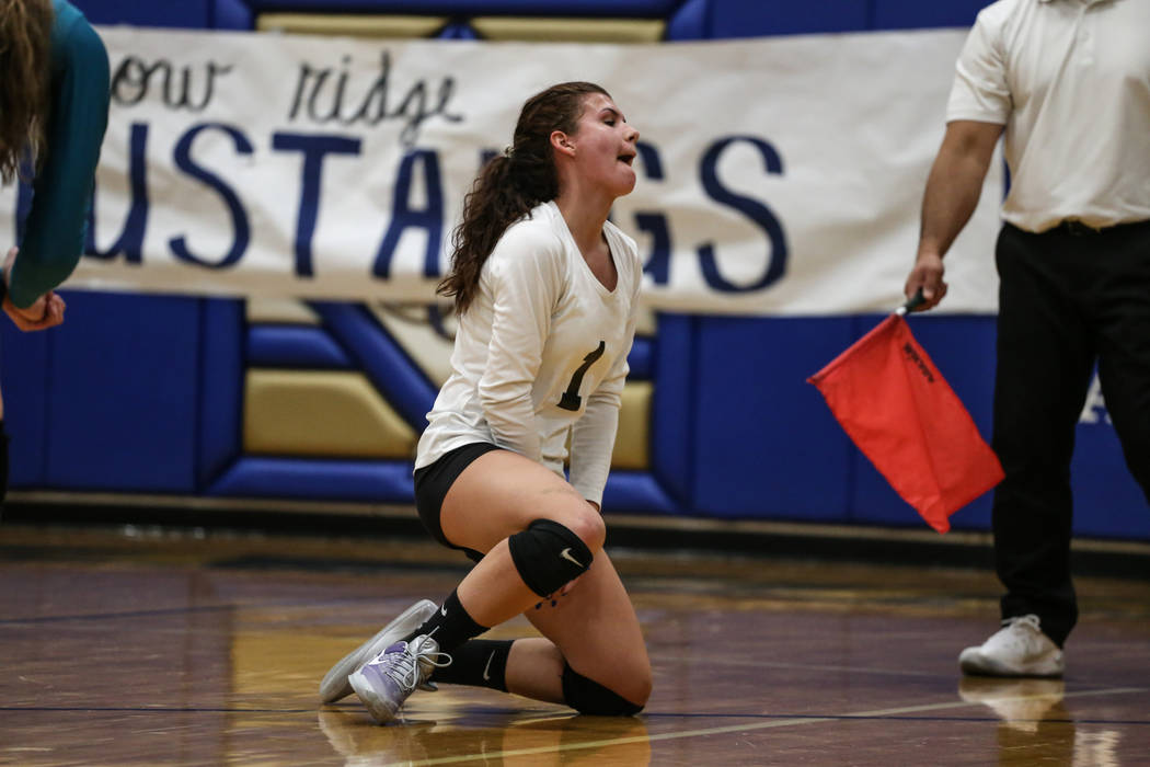 Silverado's Kaylynn Smith (1) reacts after Shadow Ridge scores during game two of a volleyball game at Sierra Vista High School in Las Vegas, Monday, Nov. 6, 2017. Shadow Ridge won 3-0. Joel Angel ...