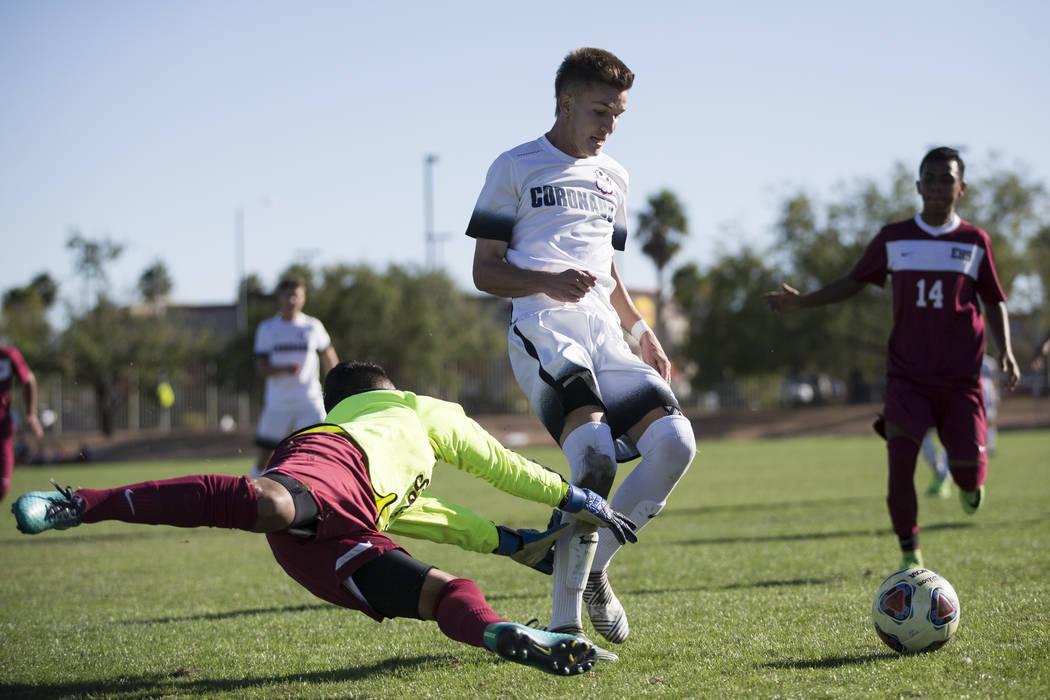 Coronado's John Lynam (7) controls the ball after missing a penalty kick against Eldorado in the Sunrise Region boy's championship soccer game at the Bettye Wilson Soccer Complex in Las Vegas, Sat ...