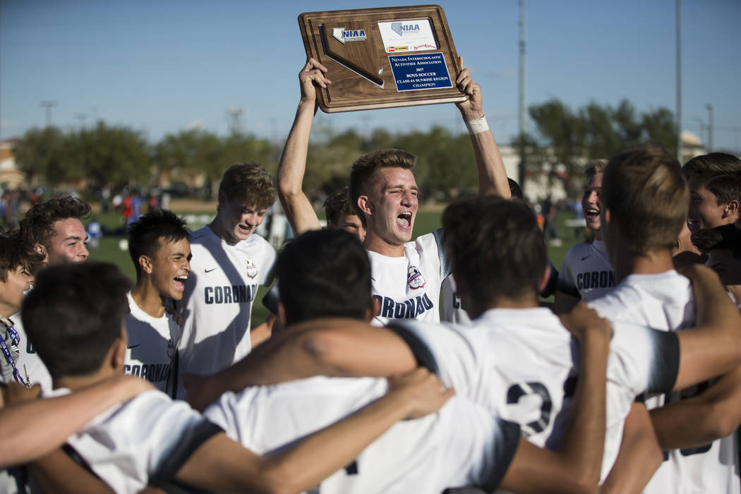 Coronado's John Lynam (7) celebrates with his team after their 2-1 victory against Eldorado in the Sunrise Region boy's championship soccer game at the Bettye Wilson Soccer Complex in Las Vegas, S ...