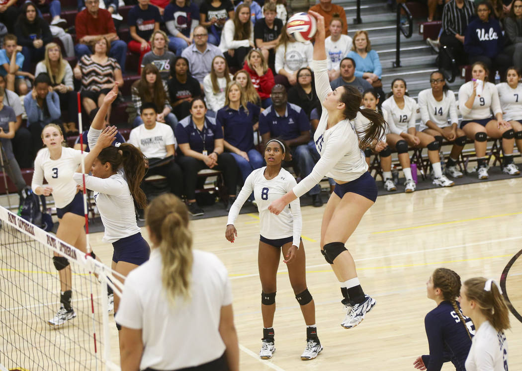 Shadow Ridge's Whittnee Nihipali (15) during the Class 4A state volleyball game at Faith Lutheran High School in Las Vegas on Friday, Nov. 10, 2017. Chase Stevens Las Vegas Review-Journal @cssteve ...