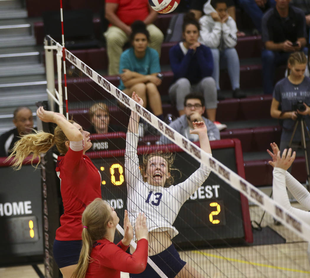 Shadow Ridge's Autumn Spendlove (13) reacts while playing Coronado during the Class 4A state volleyball game at Faith Lutheran High School in Las Vegas on Friday, Nov. 10, 2017. Chase Stevens Las  ...