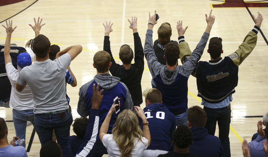 Shadow Ridge fans cheer as their team plays Coronado during the Class 4A state volleyball game at Faith Lutheran High School in Las Vegas on Friday, Nov. 10, 2017. Chase Stevens Las Vegas Review-J ...