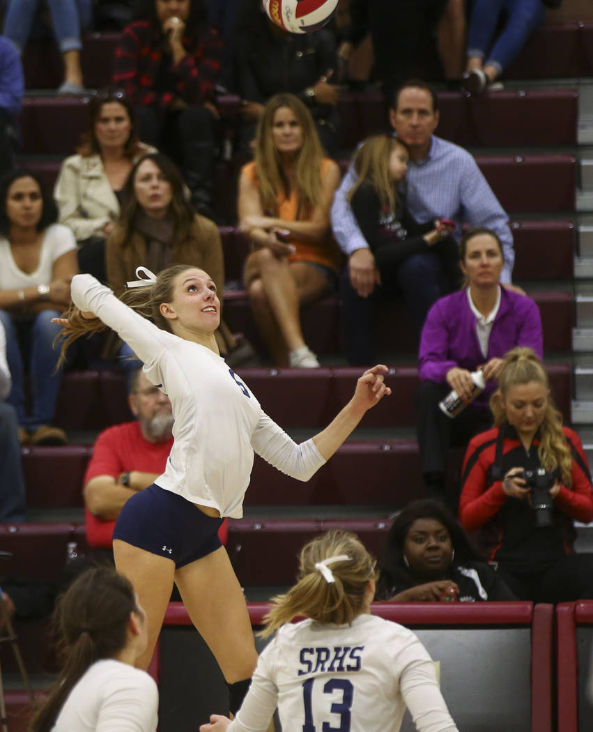 Shadow Ridge's Madyson Lousignont (6) looks to send the ball to Coronado during the Class 4A state volleyball game at Faith Lutheran High School in Las Vegas on Friday, Nov. 10, 2017. Chase Steven ...