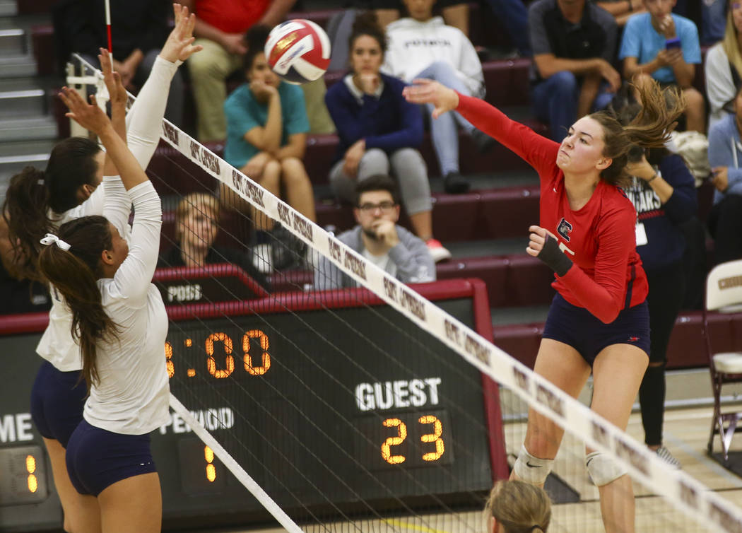 Coronado's McCallister Gayle (15) attacks against Shadow Ridge during the Class 4A state volleyball game at Faith Lutheran High School in Las Vegas on Friday, Nov. 10, 2017. Chase Stevens Las Vega ...