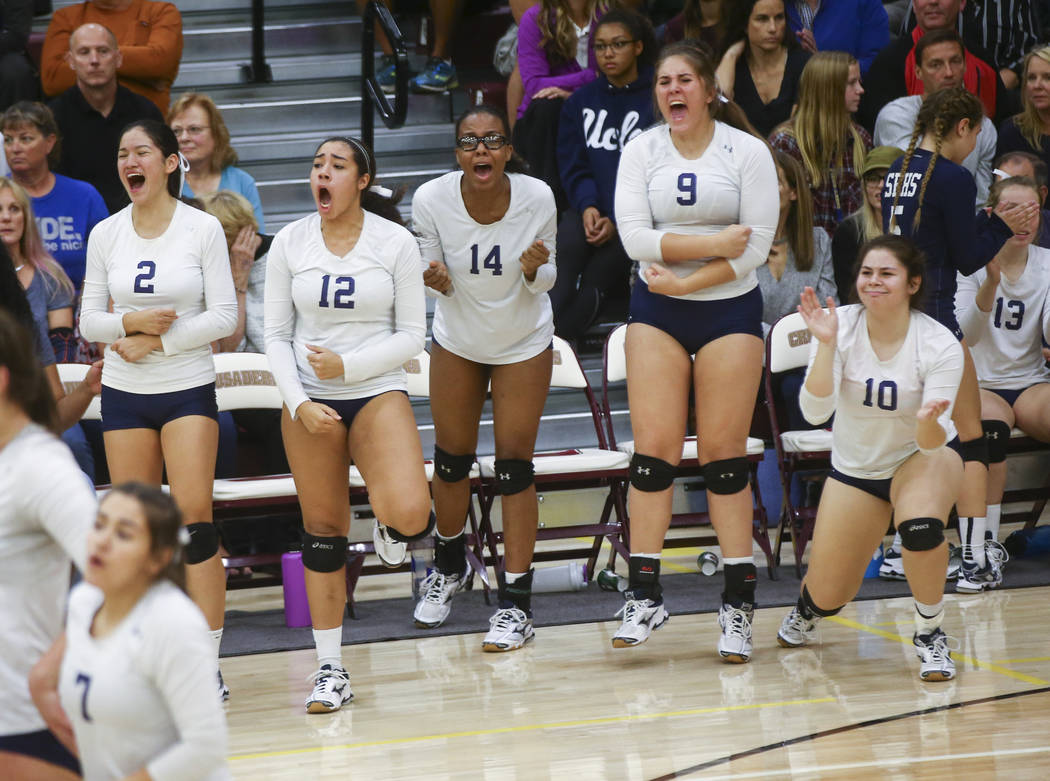 Shadow Ridge players celebrate while playing Coronado during the Class 4A state volleyball game at Faith Lutheran High School in Las Vegas on Friday, Nov. 10, 2017. Chase Stevens Las Vegas Review- ...