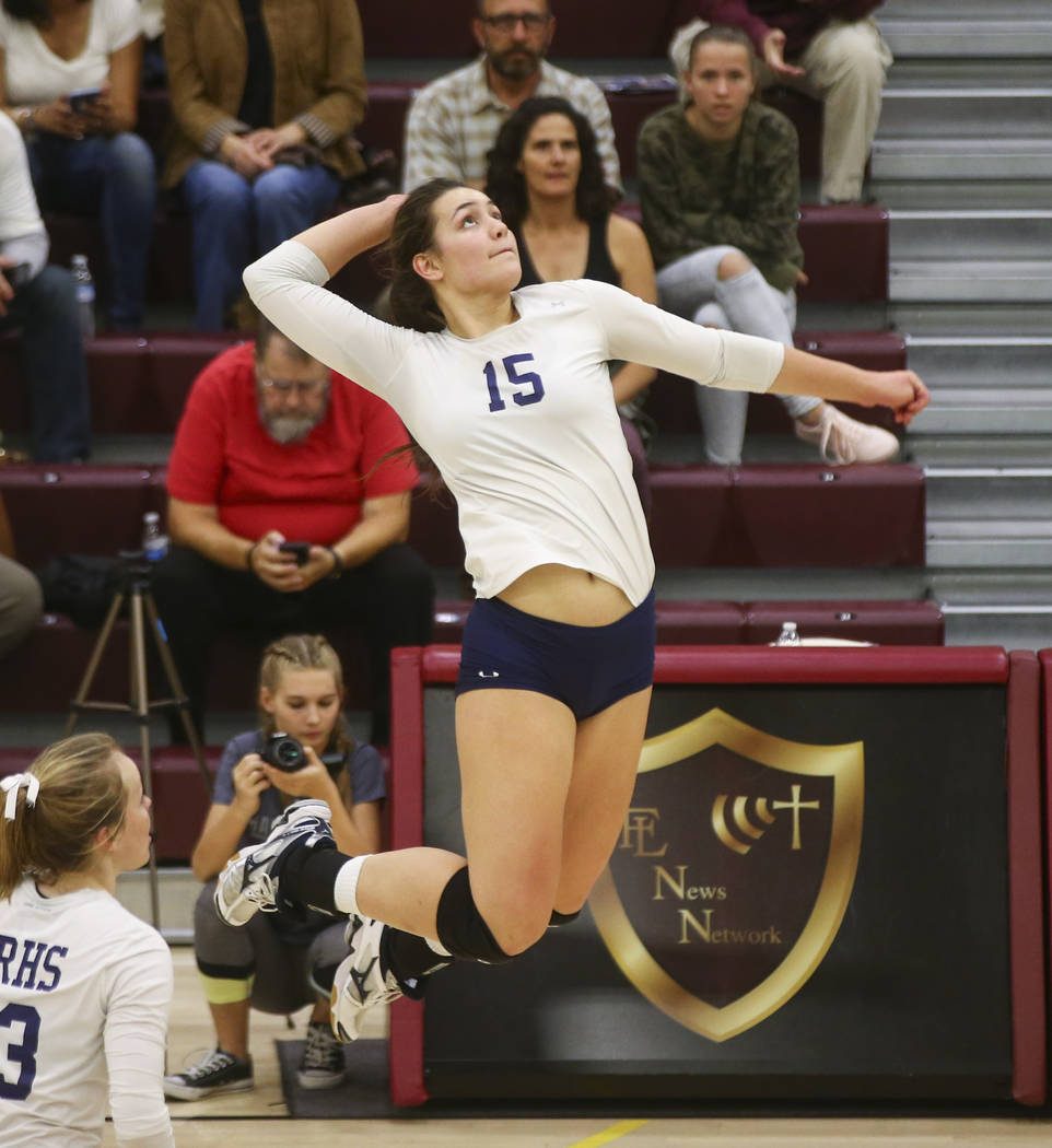 Shadow Ridge's Whittnee Nihipali (15) prepares to hit the ball against Coronado during the Class 4A state volleyball game at Faith Lutheran High School in Las Vegas on Friday, Nov. 10, 2017. Chase ...