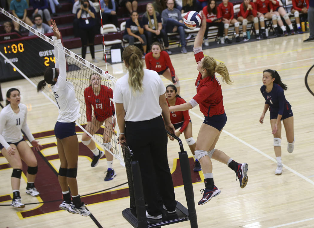 Coronado's Madison Karcich (11) sends the ball to Shadow Ridge during the Class 4A state volleyball game at Faith Lutheran High School in Las Vegas on Friday, Nov. 10, 2017. Chase Stevens Las Vega ...