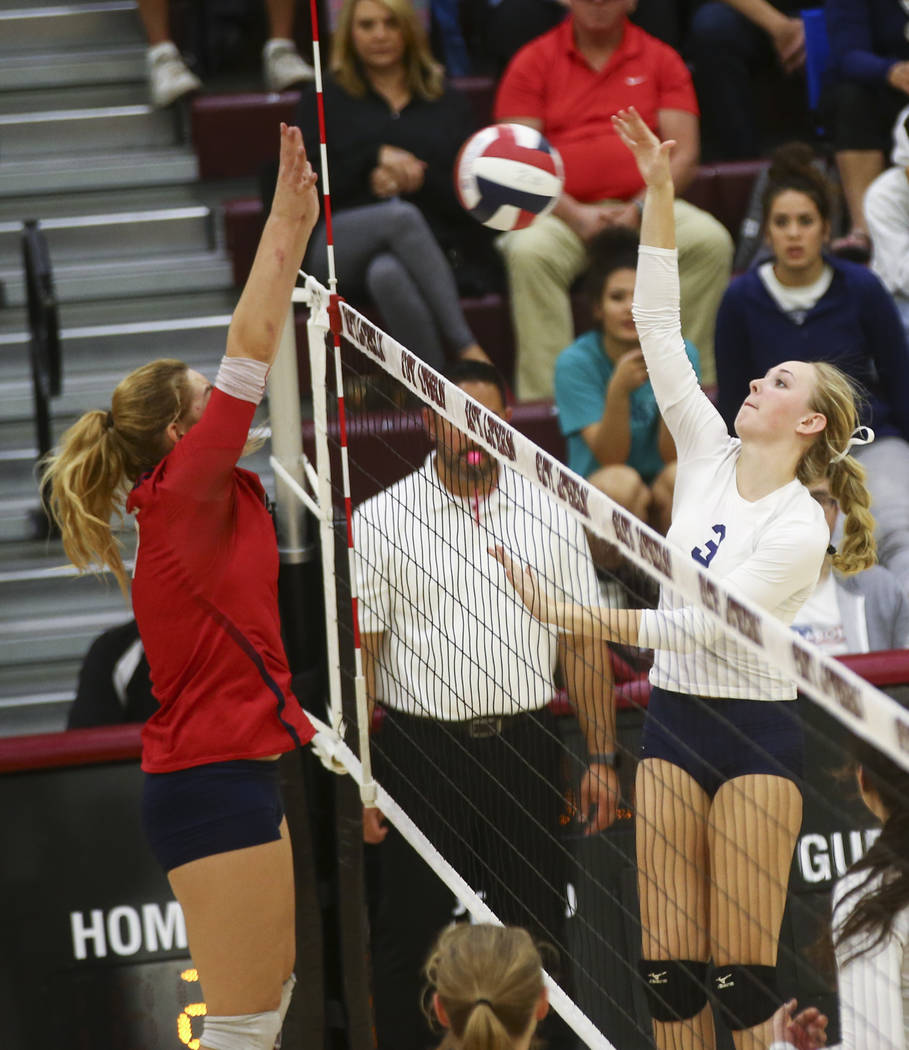 Shadow Ridge's Madison Norr (3) sends a shot over to Coronado during the Class 4A state volleyball game at Faith Lutheran High School in Las Vegas on Friday, Nov. 10, 2017. Chase Stevens Las Vegas ...