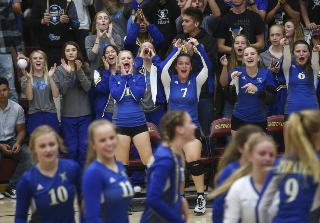 Moapa Valley players celebrate while playing Lowry during the Class 3A state volleyball game at Faith Lutheran High School in Las Vegas on Friday, Nov. 10, 2017. Chase Stevens Las Vegas Review-Jou ...