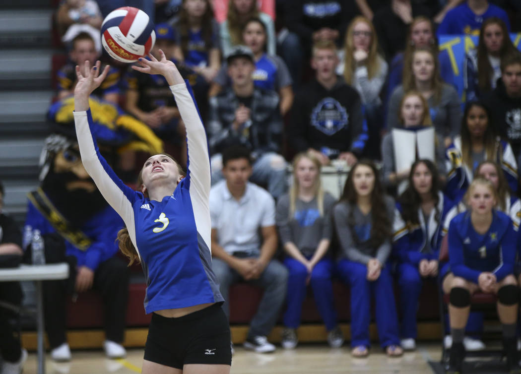 Moapa Valley's Shyanne Matheson (3) sets the ball while playing Lowry during the Class 3A state volleyball game at Faith Lutheran High School in Las Vegas on Friday, Nov. 10, 2017. Chase Stevens L ...