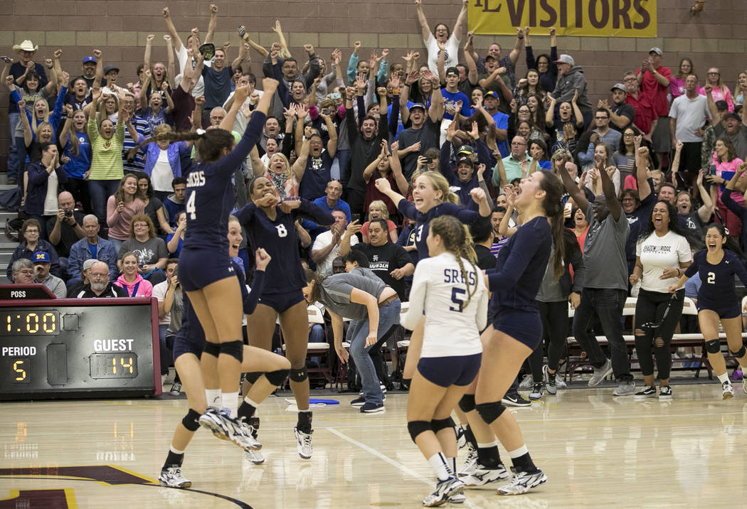 The fans go wild after Shadow Ridge defeats the Gorman Gaels in the Class 4A state volleyball championship game at Faith Lutheran High School in Las Vegas on Saturday, Nov. 11, 2017. Richard Brian ...