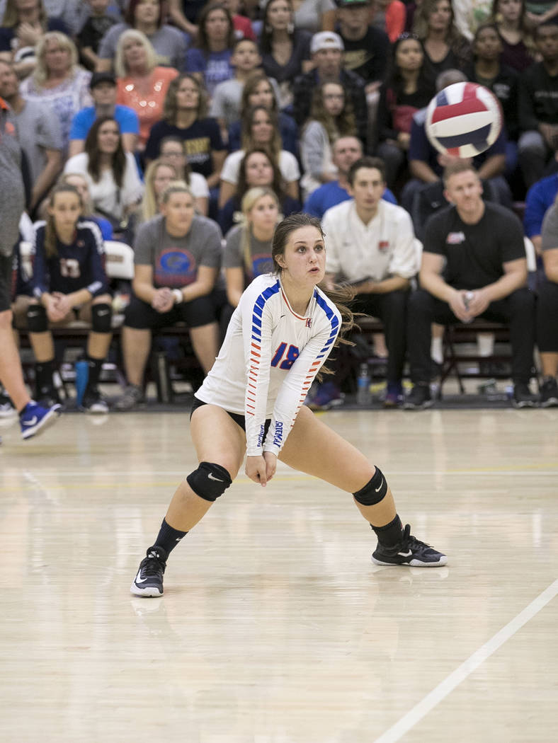 Gorman senior Sarah Lychock (18) watches the ball  against Shadow Ridge in the Class 4A state volleyball championship game at Faith Lutheran High School in Las Vegas on Saturday, Nov. 11, 2017. Ri ...