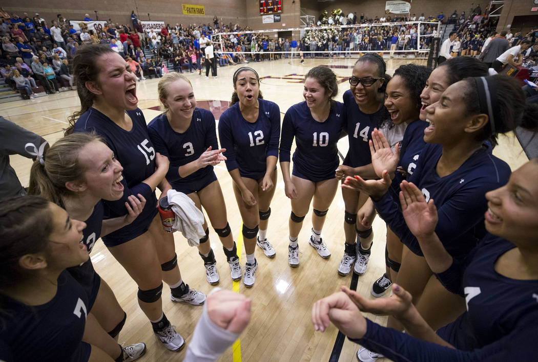 Shadow Ridge junior Natalie Mavroidis (12) pumps up the team before the final match against the Gorman Gaels in the Class 4A state volleyball championship game at Faith Lutheran High School in Las ...