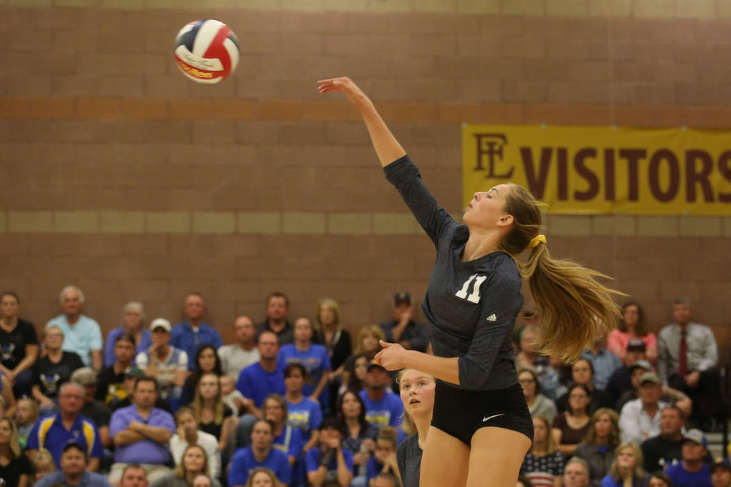 Boulder City player Kamry Bailey hits the ball to Moapa Valley during the class 3A state volleyball championship at Faith Lutheran in Las Vegas on Saturday, Nov. 11, 2017. Boulder City won 3-2. Br ...