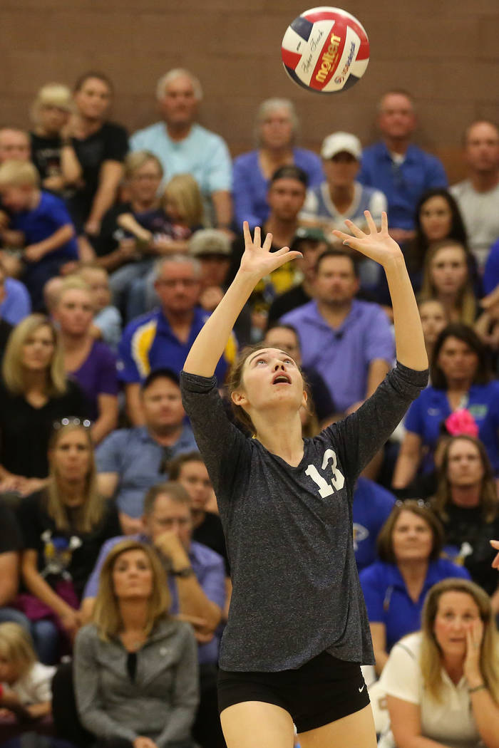 Boulder City player Raegan Herr sets the ball during the class 3A state volleyball championship game against Moapa Valley at Faith Lutheran in Las Vegas on Saturday, Nov. 11, 2017. Boulder City wo ...