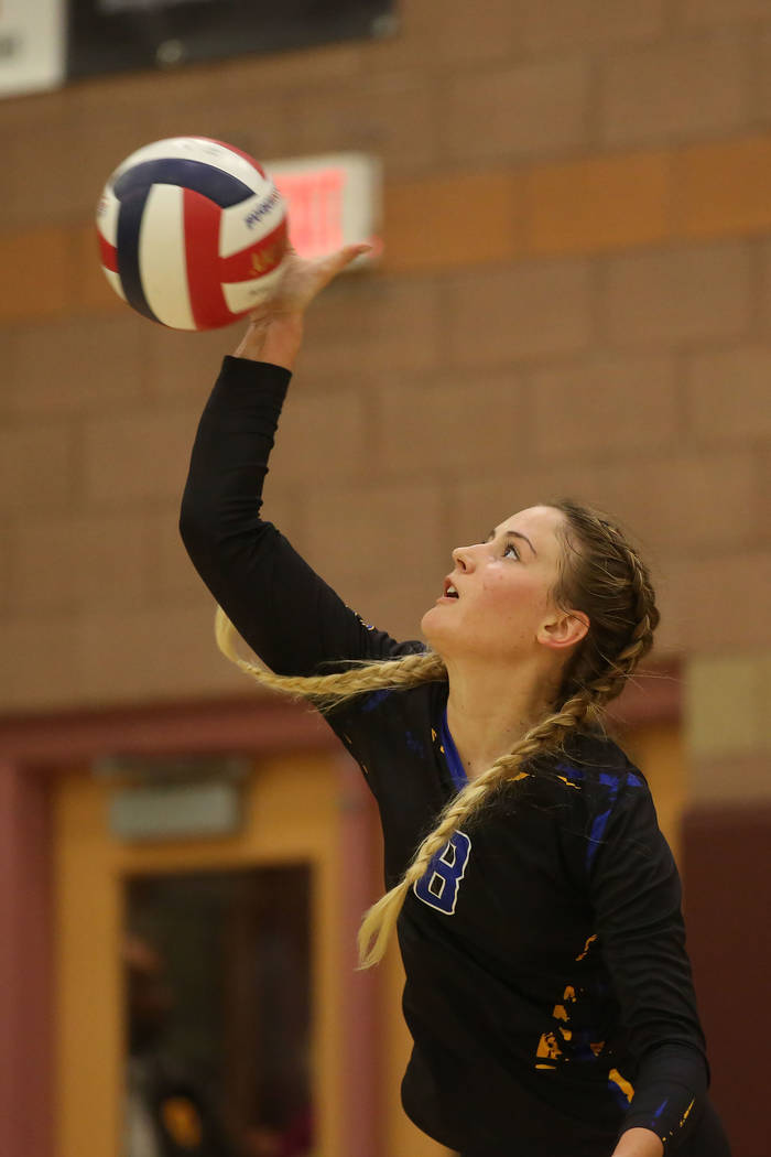 Moapa Valley player 	Shelbi Walker serves the ball during the class 3A state volleyball championship game against Boulder City at Faith Lutheran in Las Vegas on Saturday, Nov. 11, 2017. Boulder Ci ...