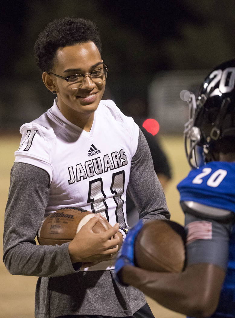 Desert Pines senior Kaleb Ramsey (11) during the Class 3A state quarterfinal football game at Desert Pine High School in Las Vegas, Thursday, Nov. 9, 2017. Richard Brian Las Vegas Review-Journal @ ...