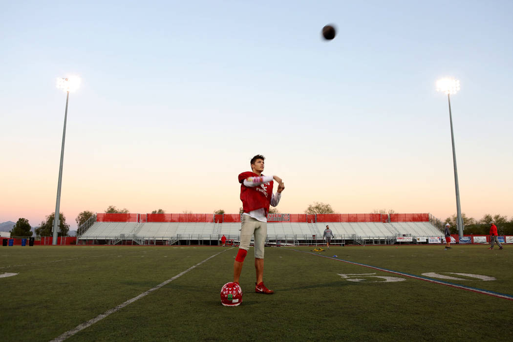 Arbor View's senior Deago Stubbs during practice due at Arbor View High School in Las Vegas, Wednesday, Nov. 15, 2017. Elizabeth Brumley Las Vegas Review-Journal @EliPagePhoto